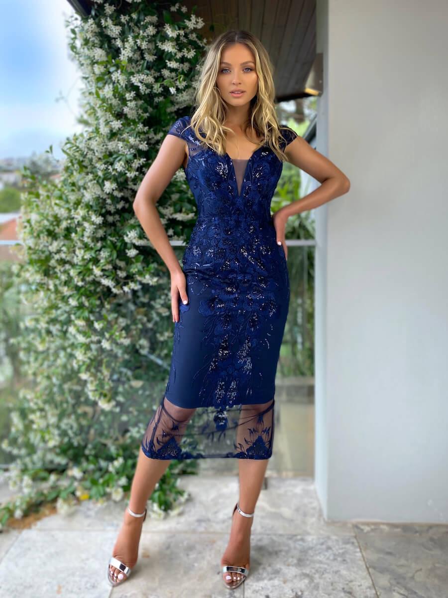 midi length cocktail dress with applique detailing, cap sleeve and v-neckline