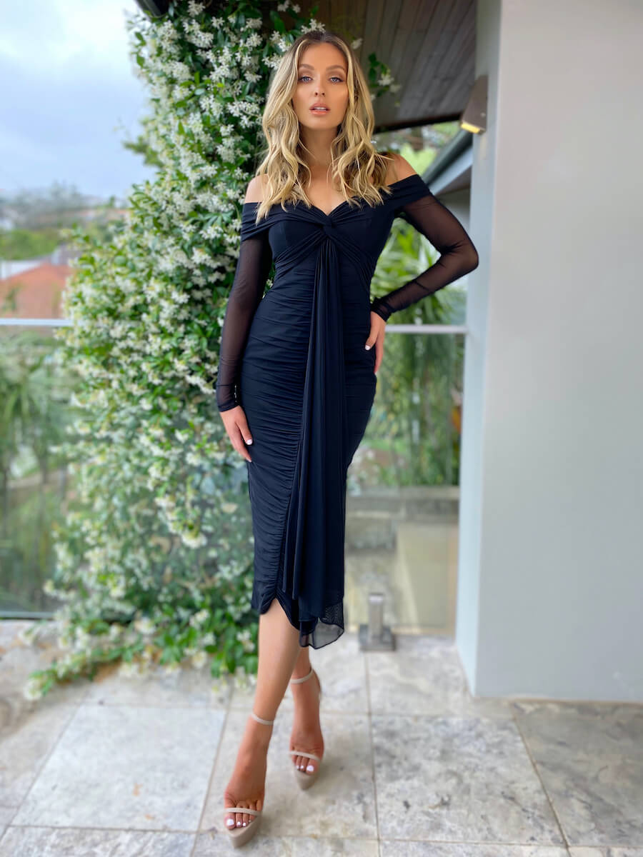 Off-the-shoulder long sleeve midi-length dress with ruching through bodice and skirt
