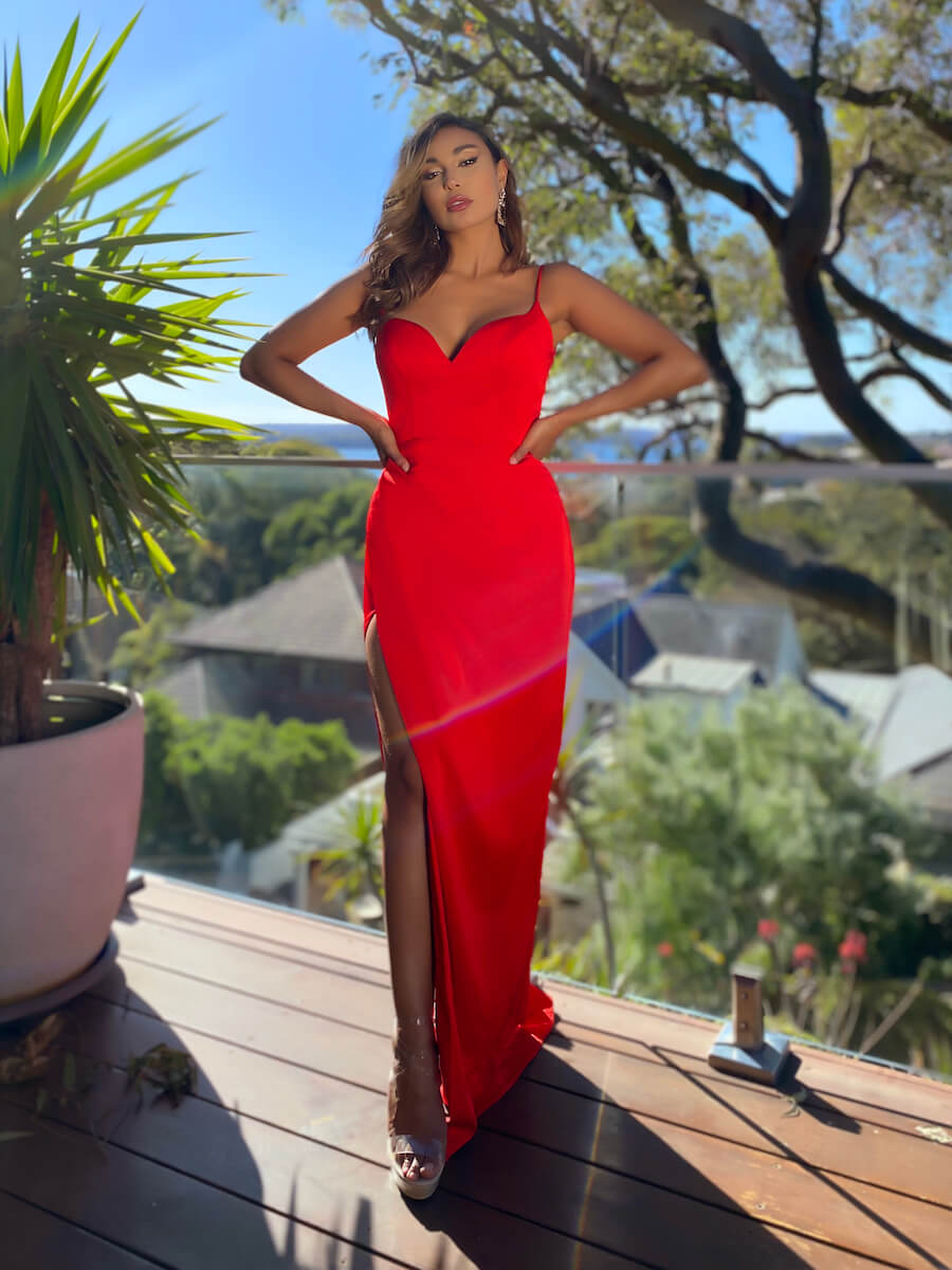 Full-length gown with sweetheart neckline and criss-cross back detailing