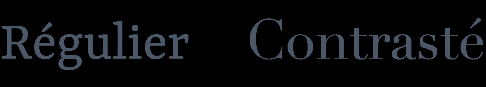 Exemple de polices d'écritures avec différents contrastes