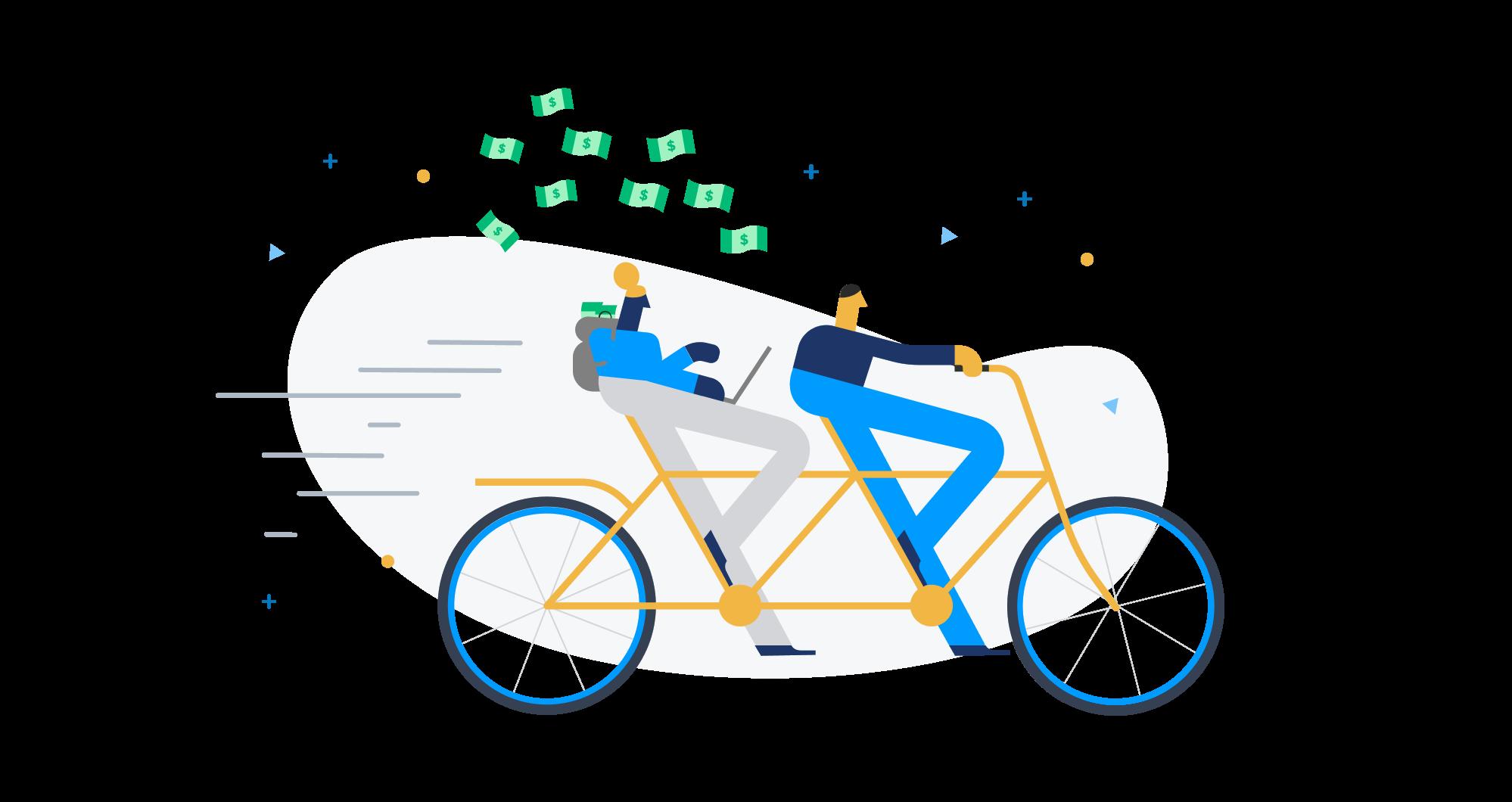 Entrepreneurs riding a bike with JumpStart money