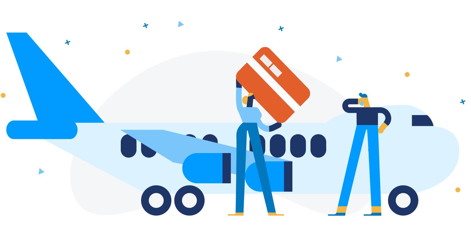 International entrepreneurs landing on airplane with startup visa