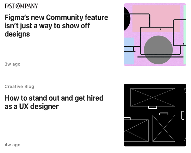 Apple News grid of articles