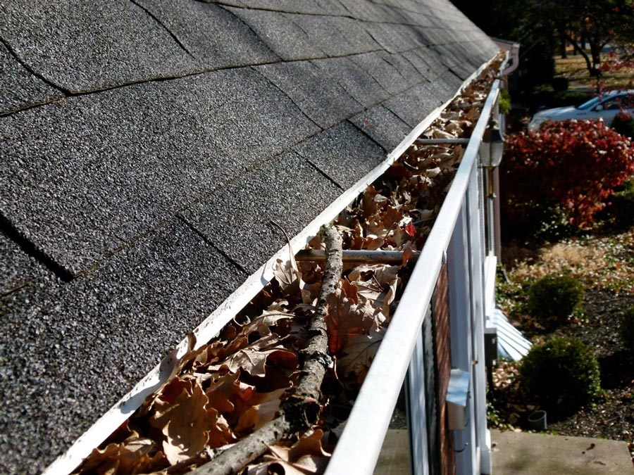 Gutter cleaning at a home in Utah County