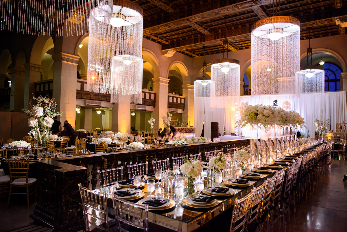 Wedding Reception with Big Chandeliers