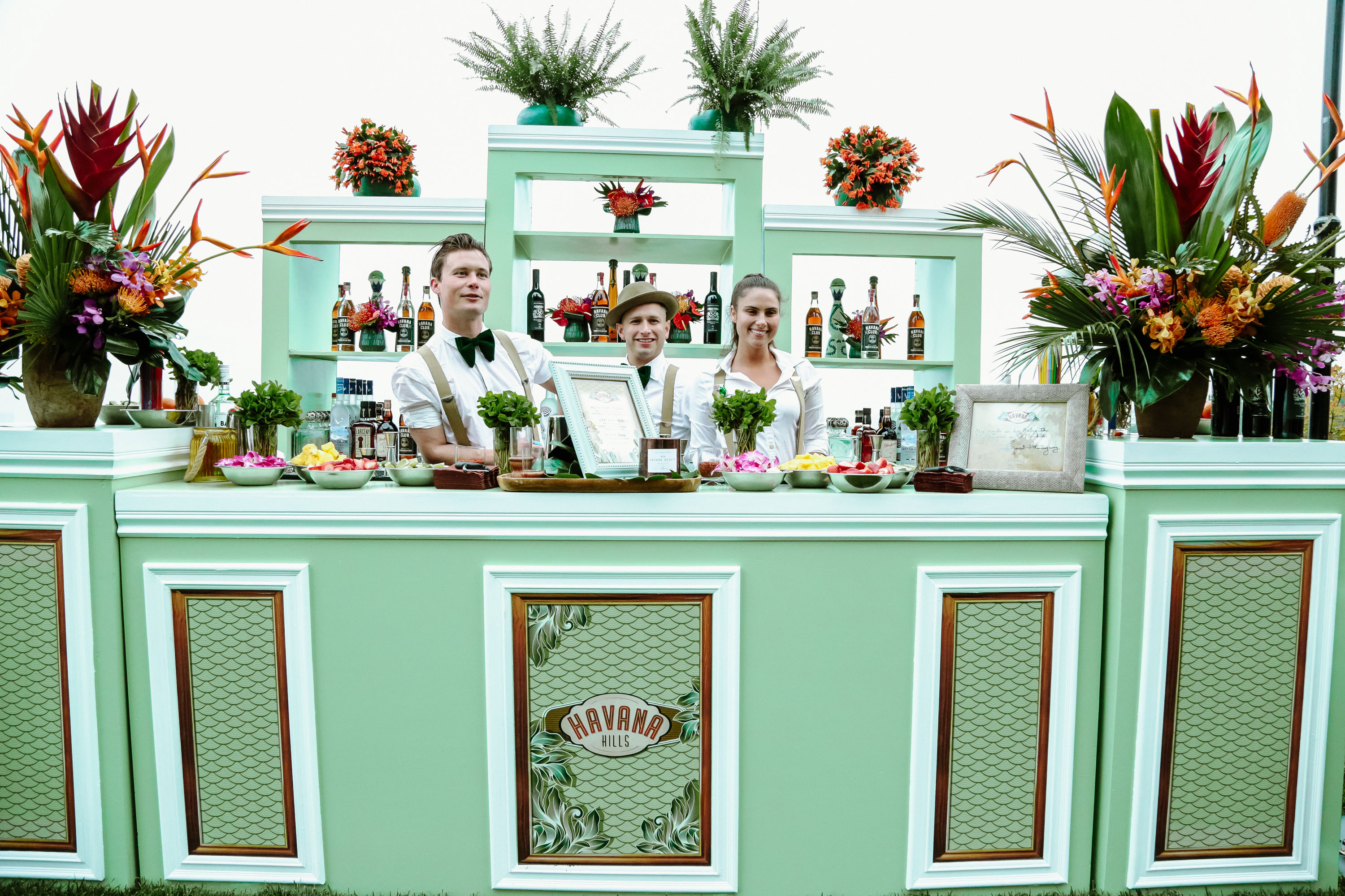 Bartenders at the bar at Havana Hills Themed Party