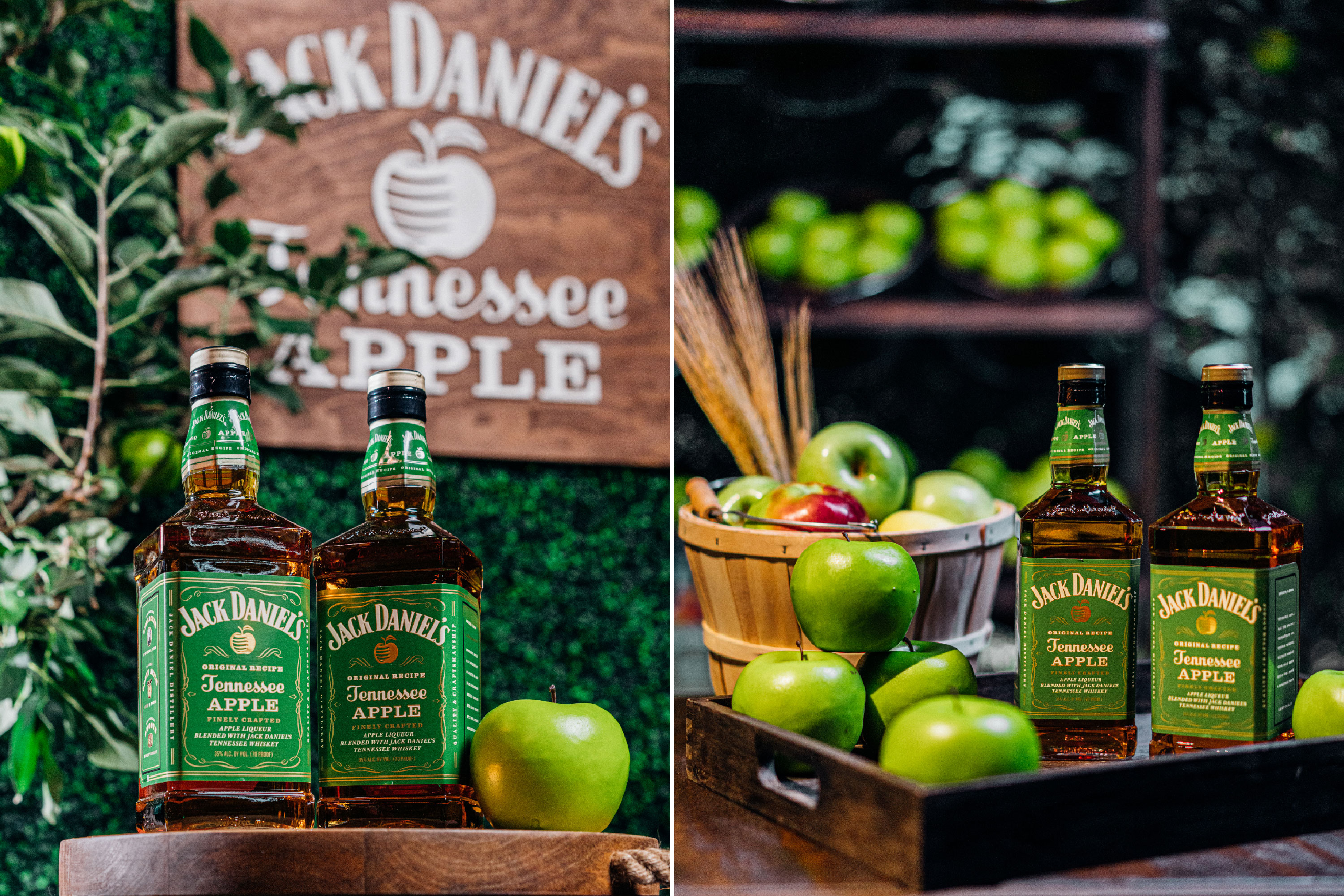 Jack Daniels Tennessee Apple bottles at the bar