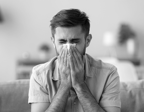 Man suffering from nasal congestion