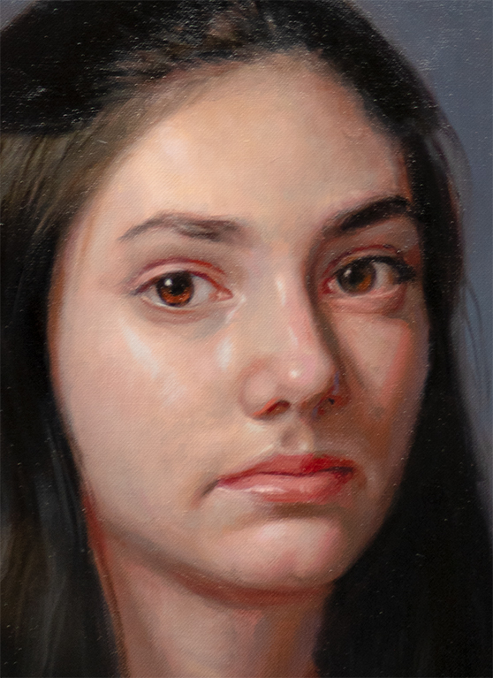 Detail of demo painting from August 2020 online Virtual Portrait Workshop, by Marvin Mattelson