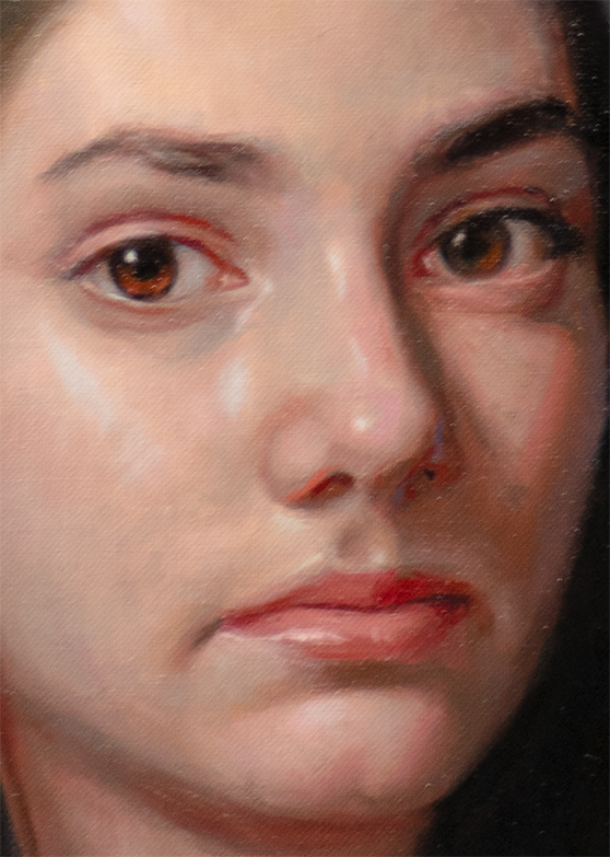 Detail 2 of demo painting from August 2020 online Virtual Portrait Workshop, by Marvin Mattelson