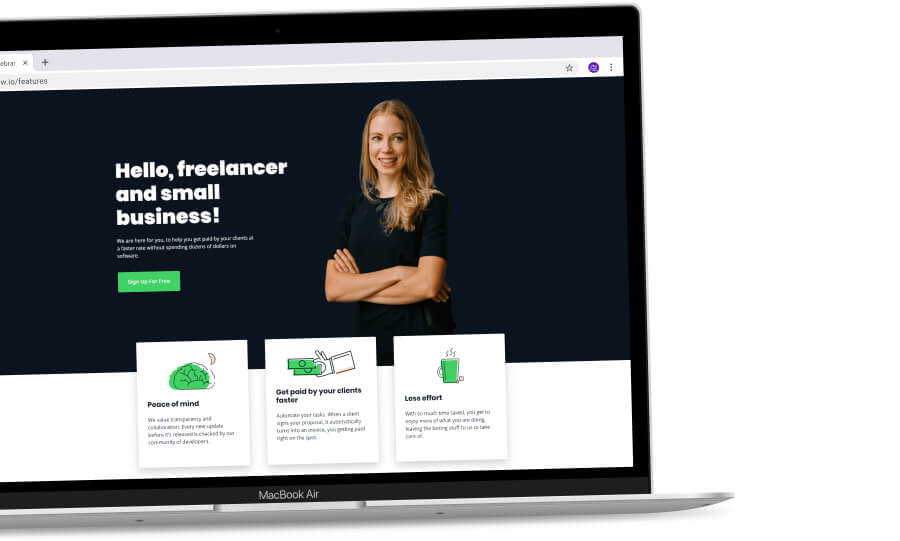 Freelancer's page and the different benefits of joining Invoice Ninja.