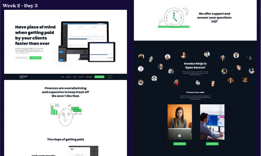 The prototype of the website from 2nd week of the project.