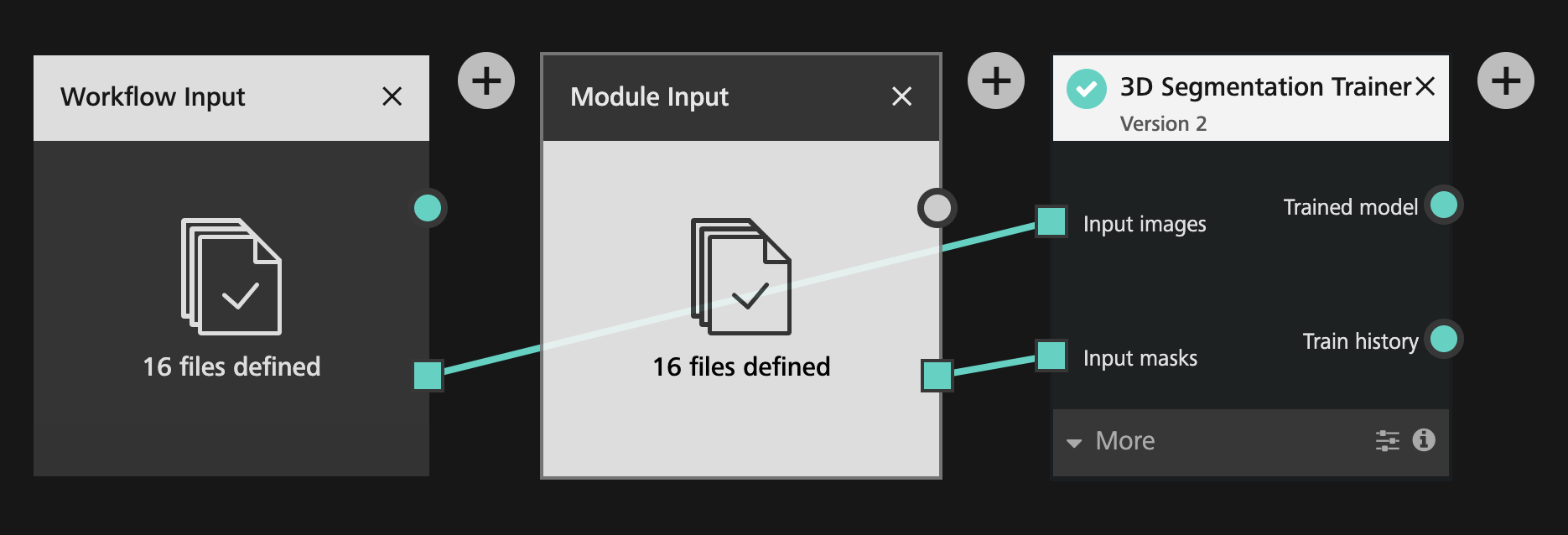 Module input module with a list of 16 files selected