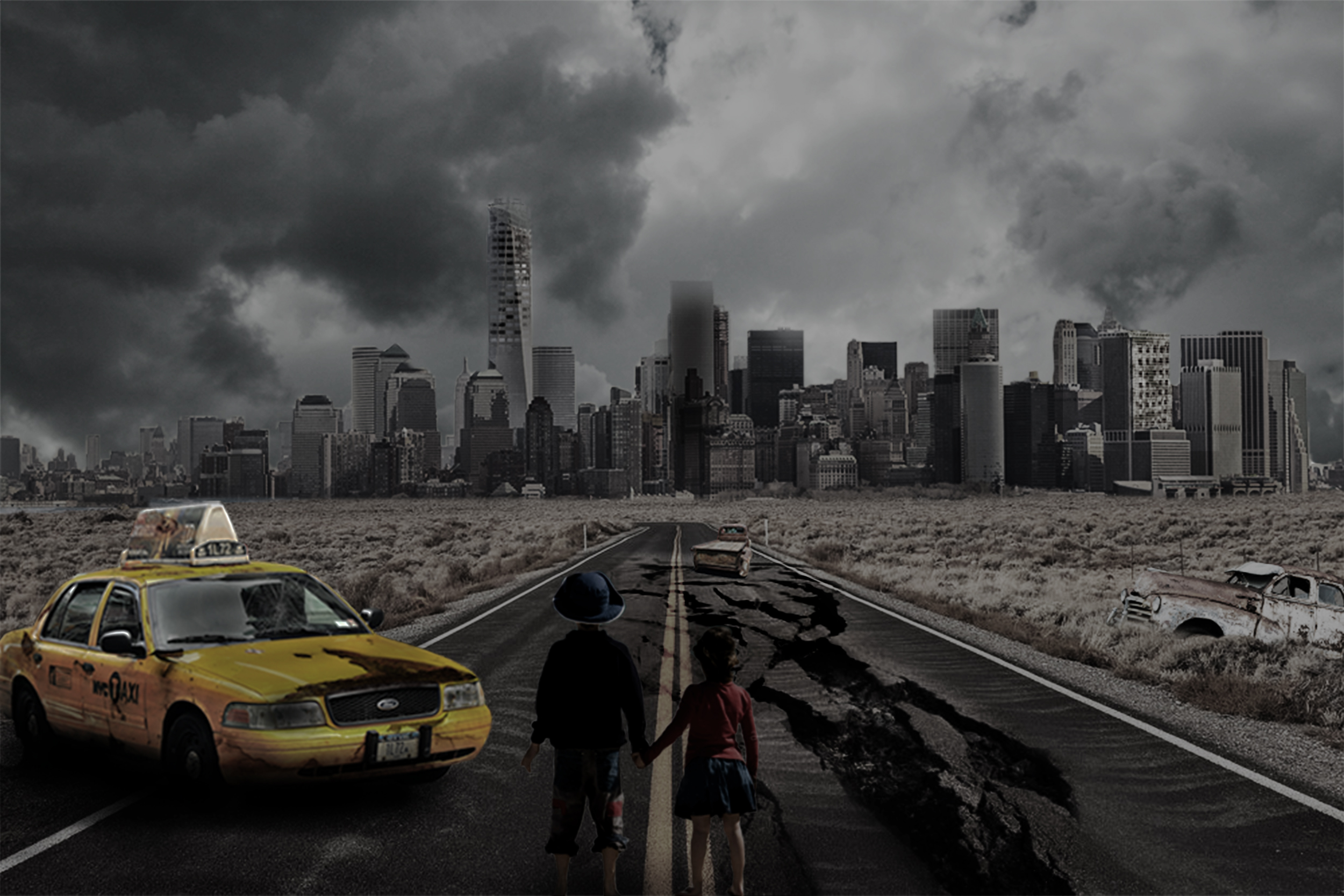 Apocalyptic image. Children on abandoned road.