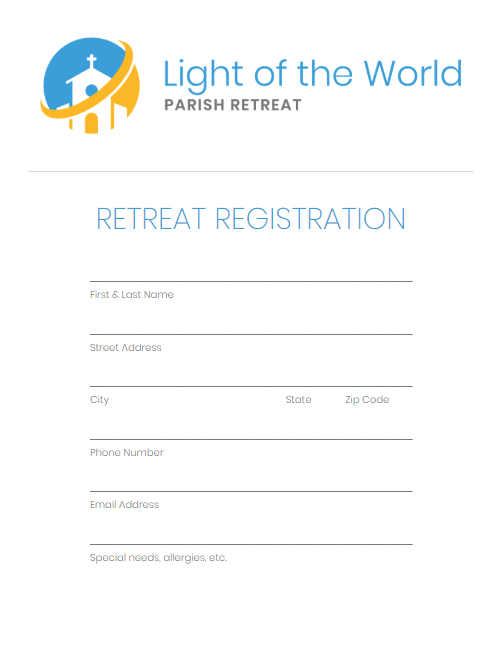 Light of the World Retreat simple registration form preview