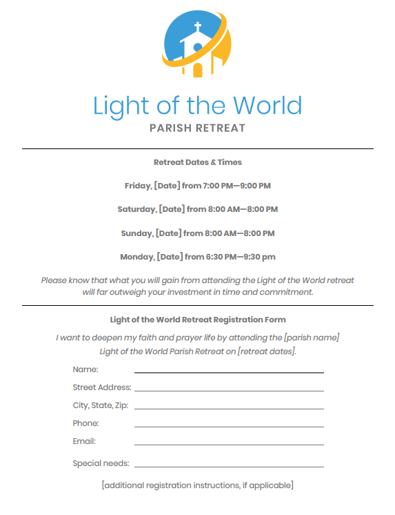 Light of the World Retreat one-page flyer preview