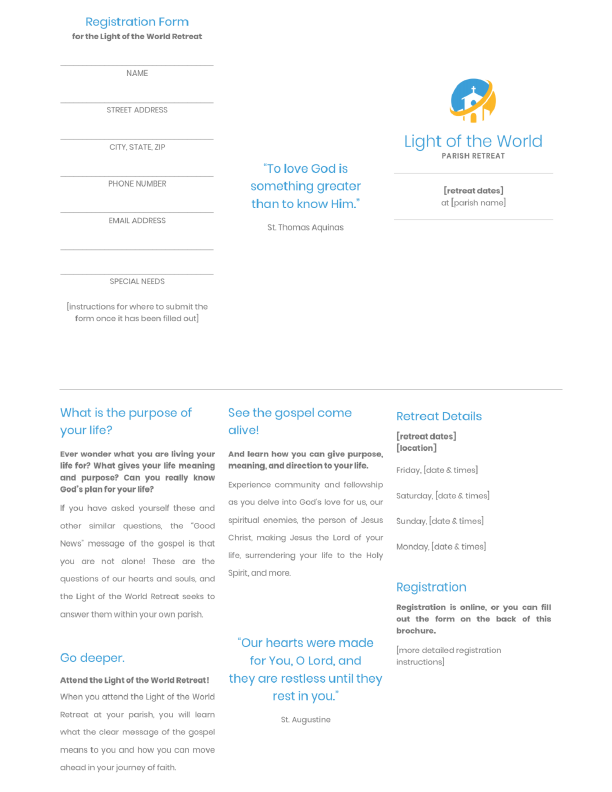 Light of the World Retreat tri-fold brochure preview