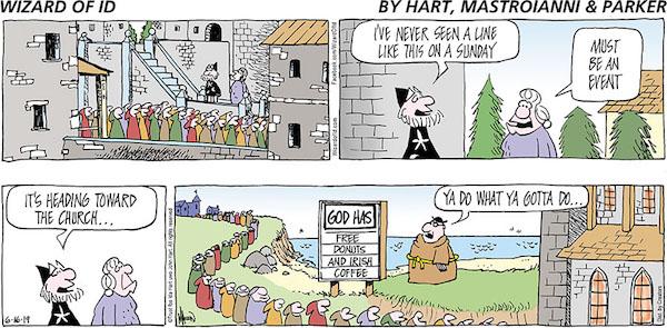Pre-evangelization comic strip welcoming new people with free food
