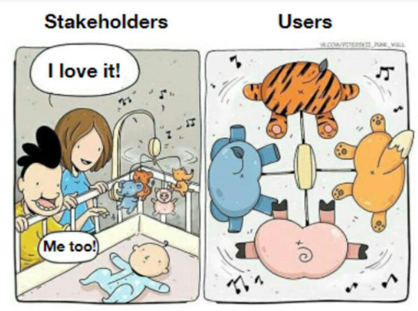 Comic strip of a baby in a crib looking at a mobile, highlighting the mistake that stakeholders make when designing for users