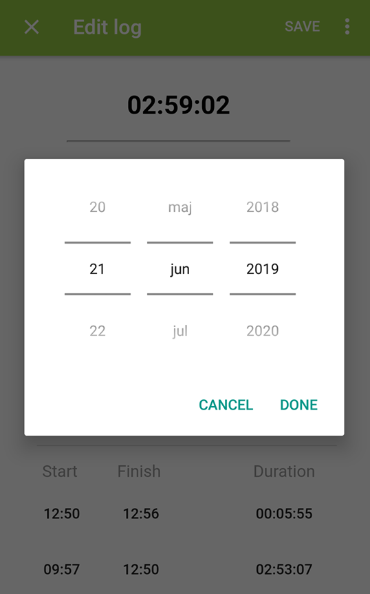 Time log date management