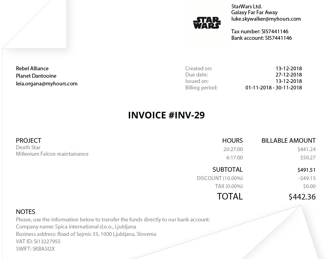 my hours invoice