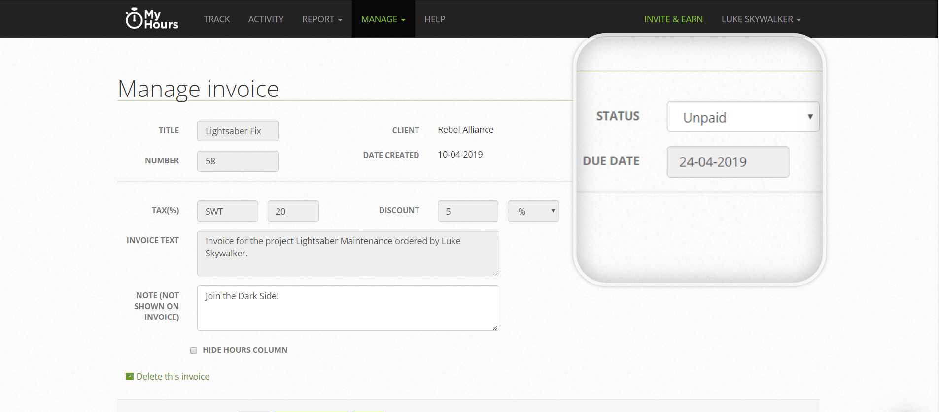 Invoicing screen