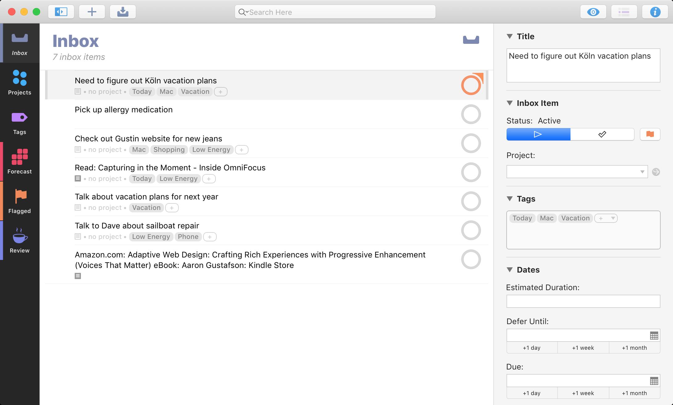 OmniFocus app screenshot