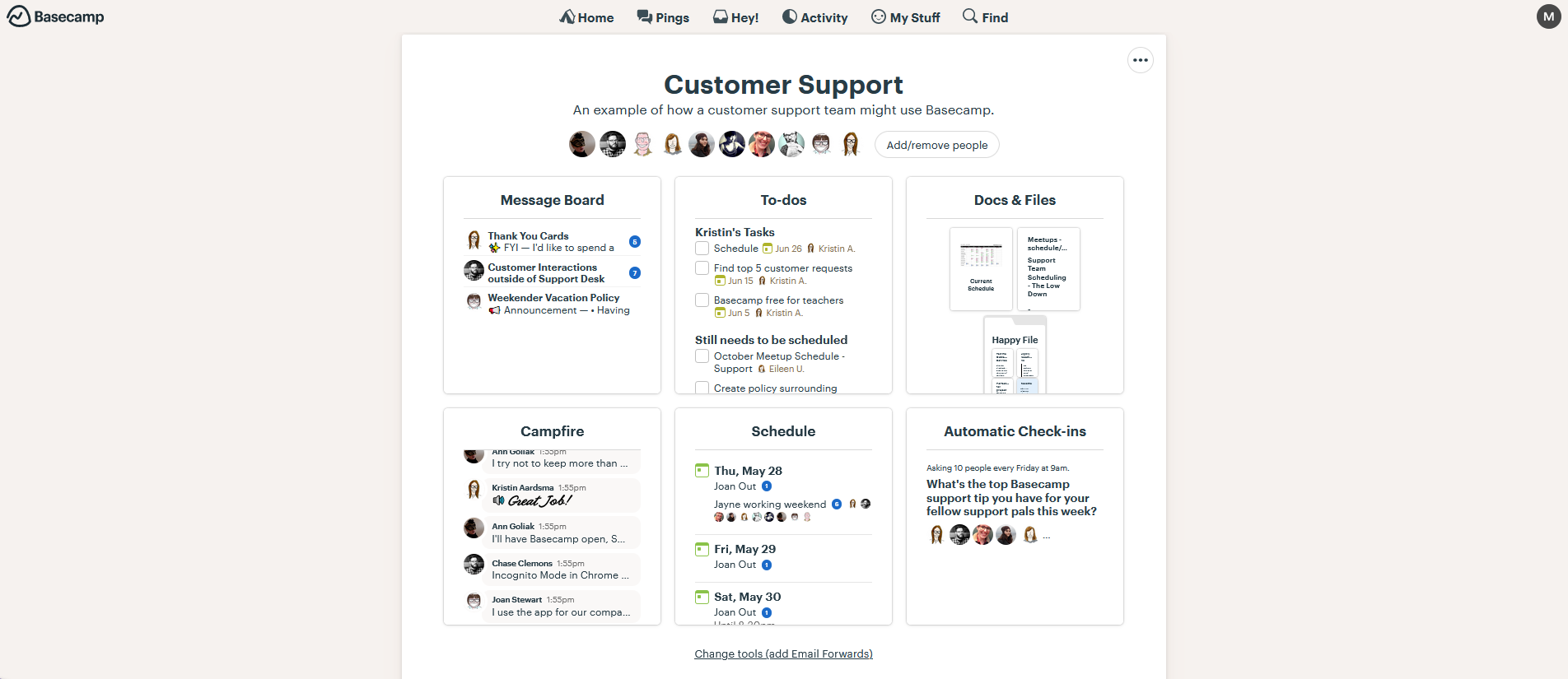 Basecamp group screen