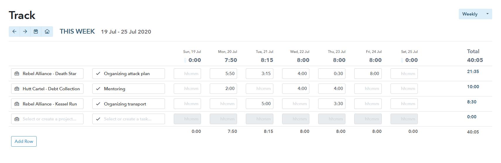 Timesheet app screenshot of My Hours