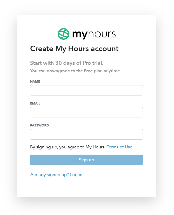 My Hours sign up page screenshot