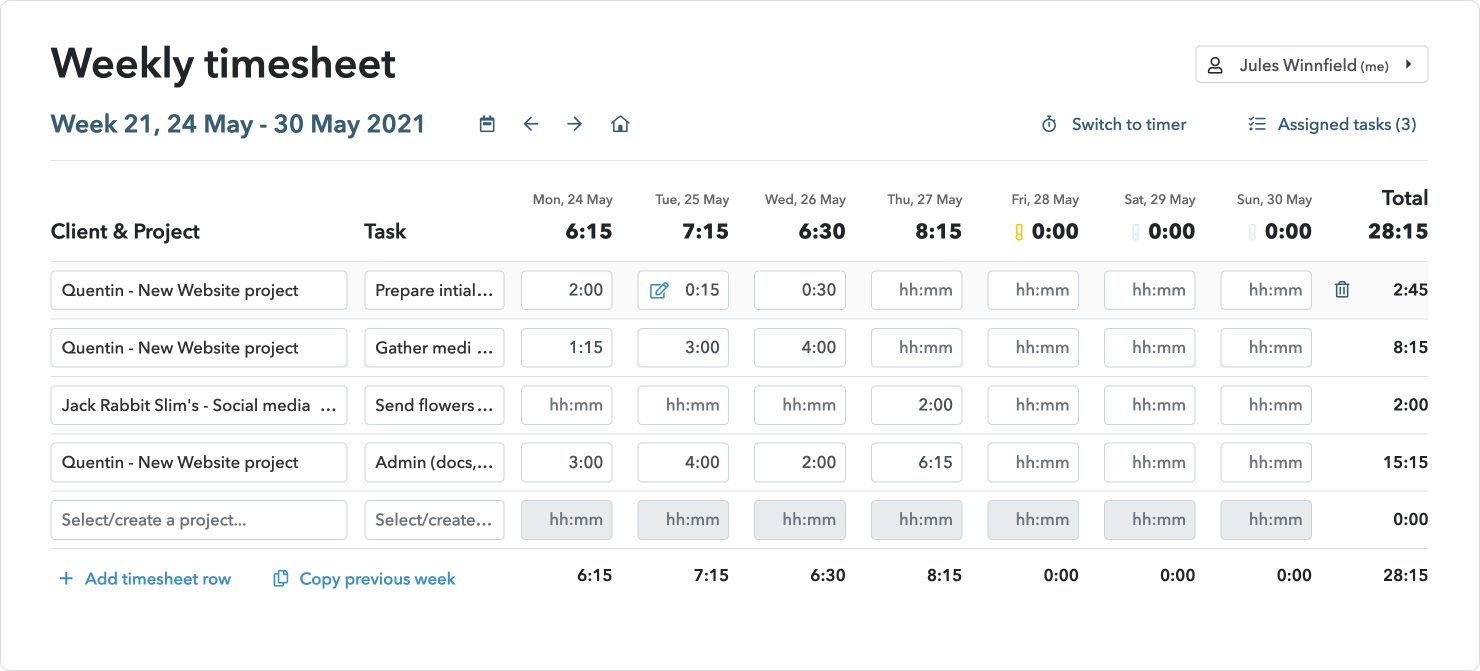 Timesheet time tracking