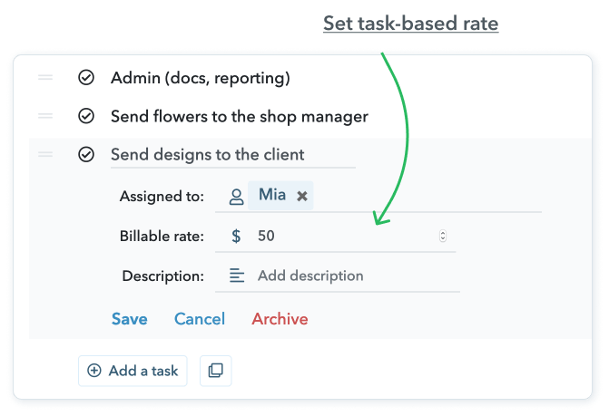 Task billable rate