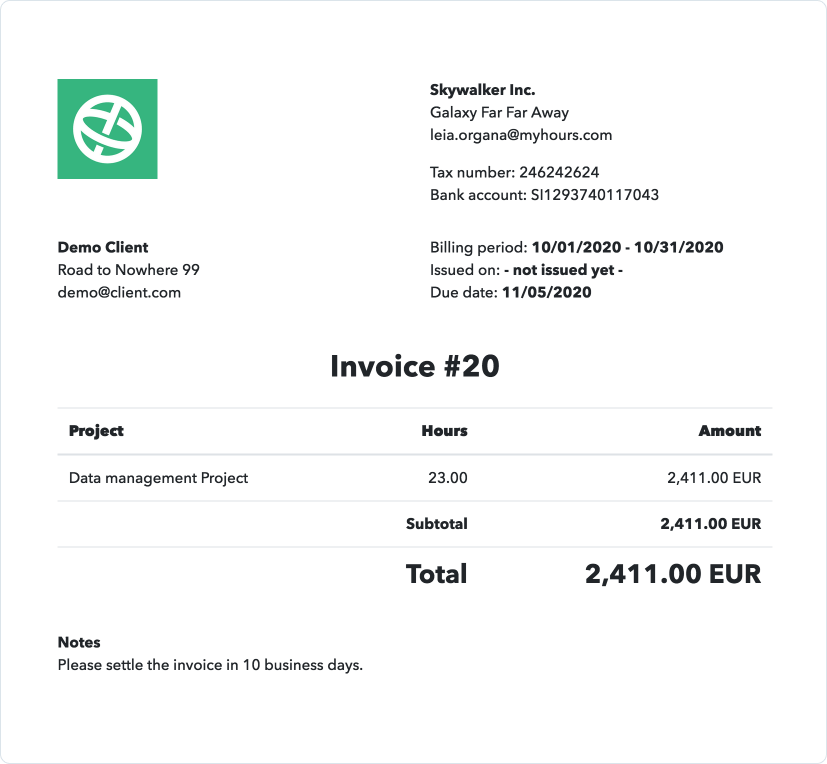 Invoice billable hours