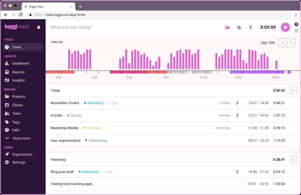 Toggl Track Screenshot