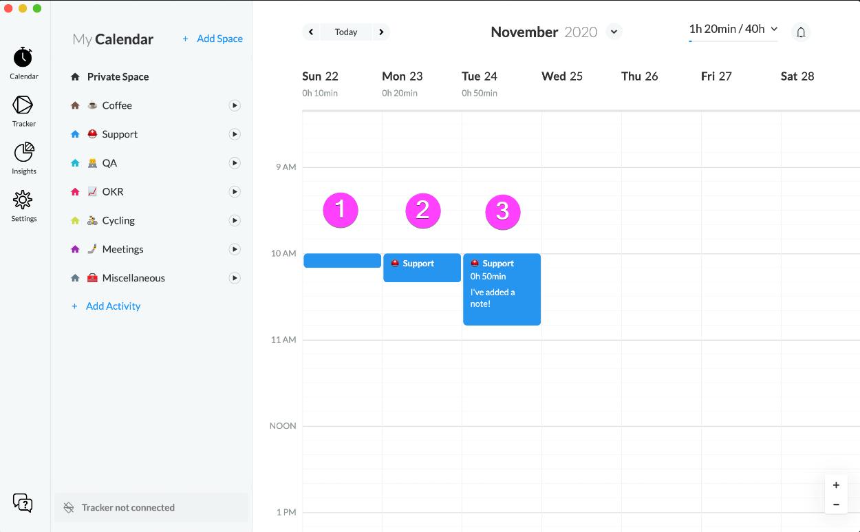 Timeular screenshot