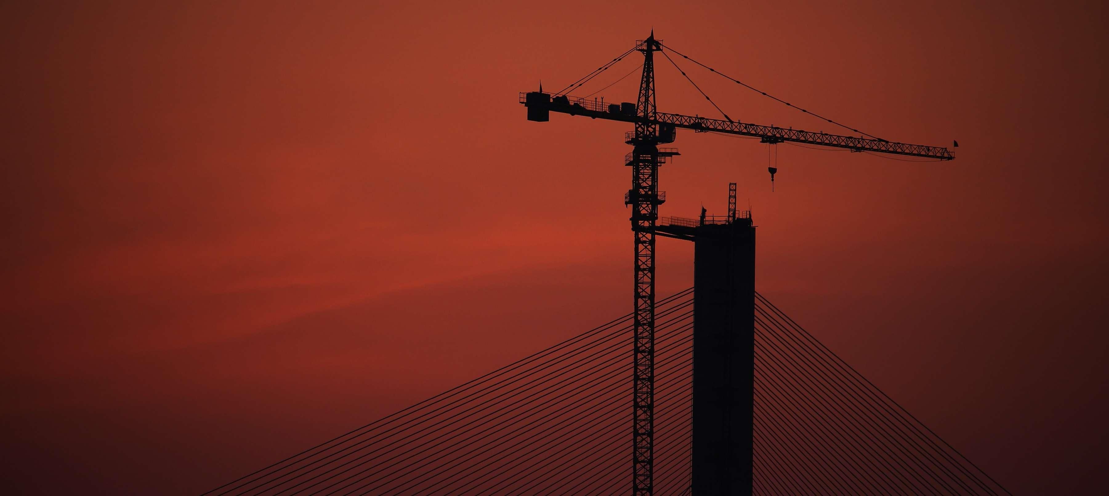 Construction working crane