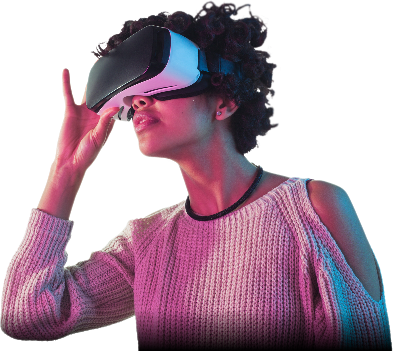 Photo of a lady wearing a virtual reality headset