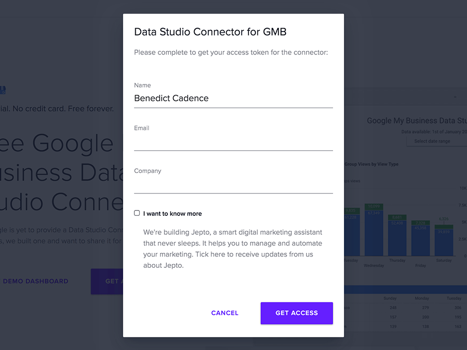GMB Data Studio Form