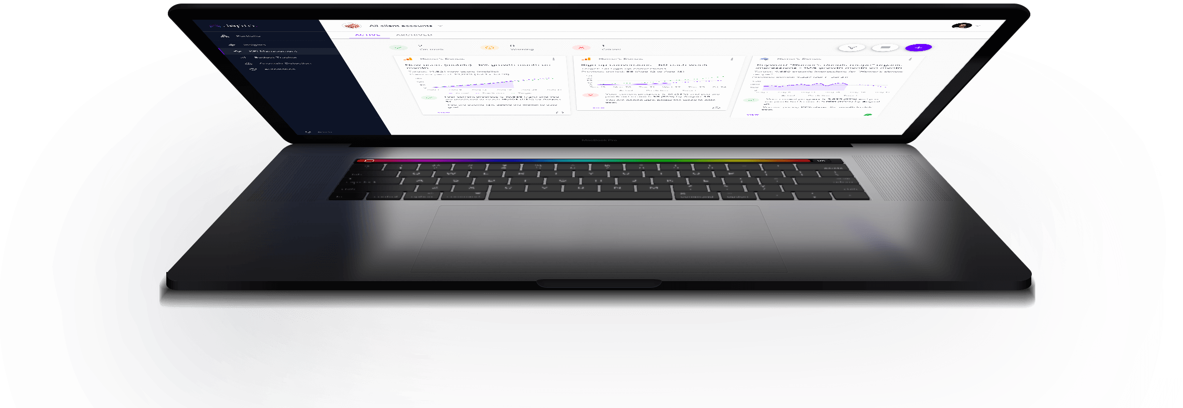 laptop with jepto dashboard on screen