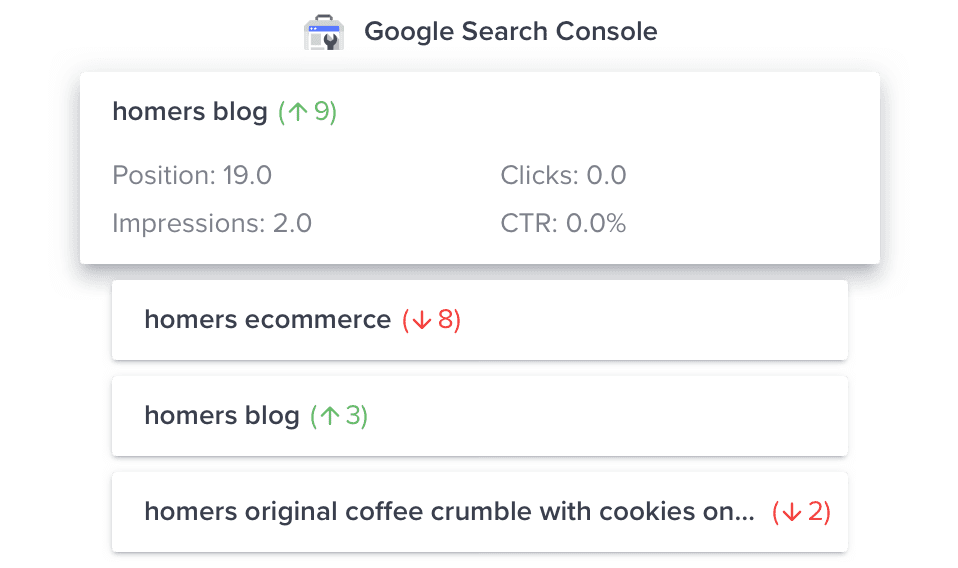 Search Console keyword tracking