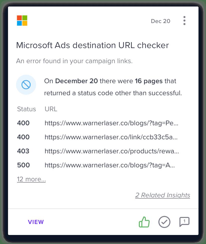 microsoft ads destination url checker