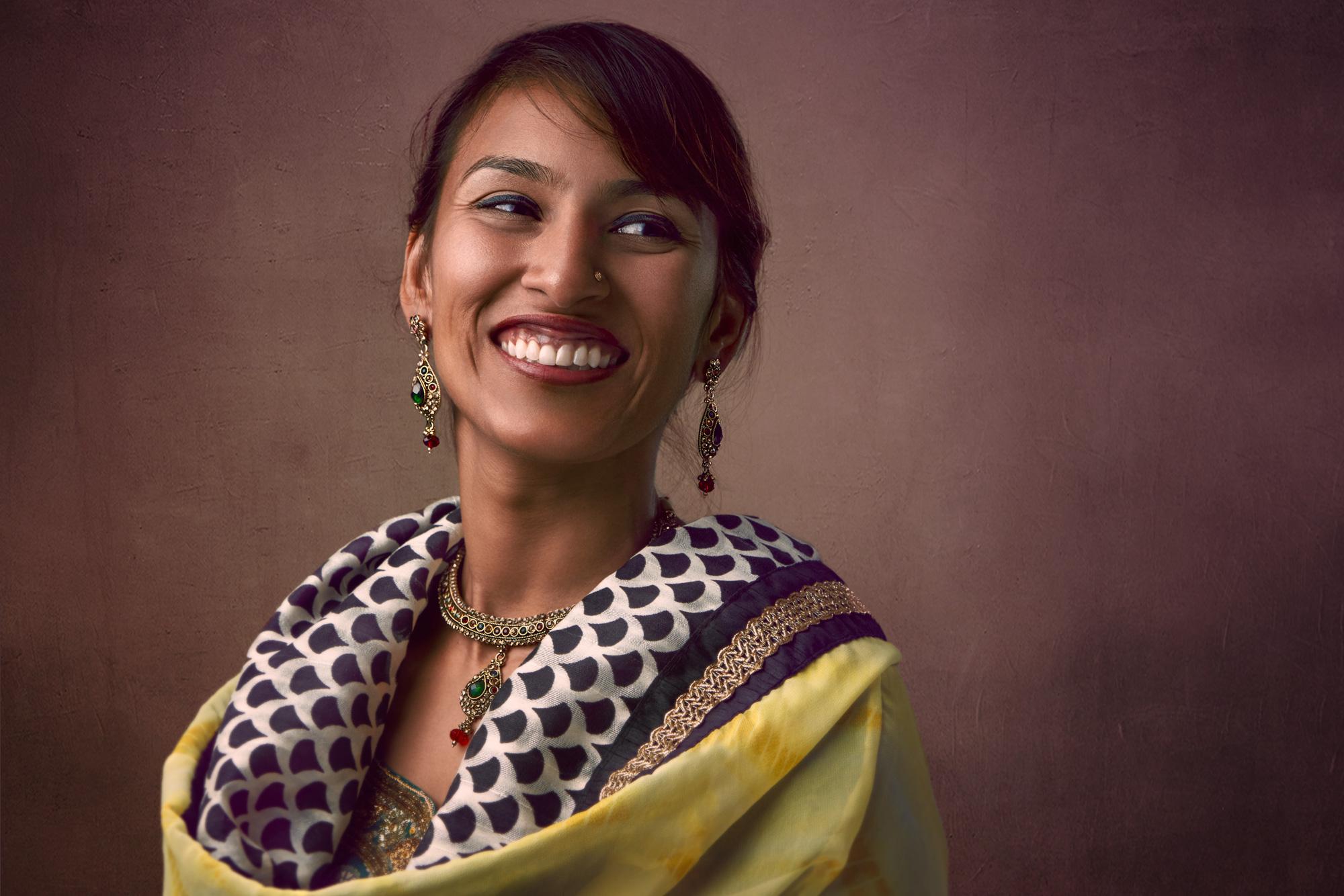 Indian Sari Smiling Headshot