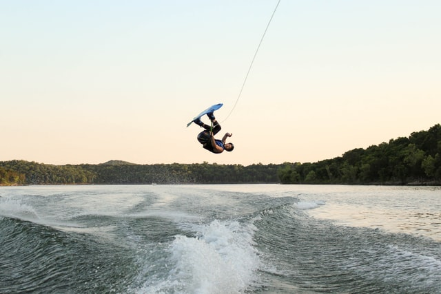 Wakeboarder making a backflip