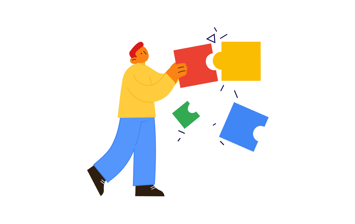 An illustration of a man who is putting puzzles pieces together in the colours red, yellow, green, and blue.