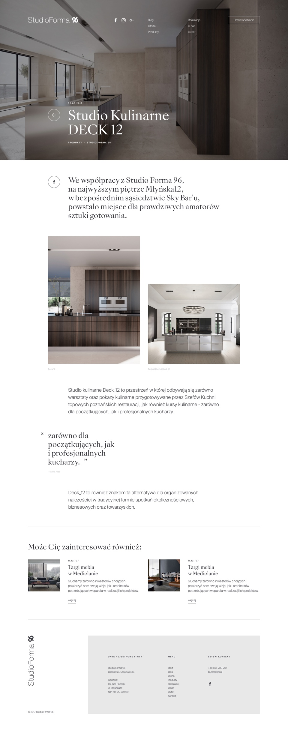 Product - web design - StudioForma 96 by Uniforma