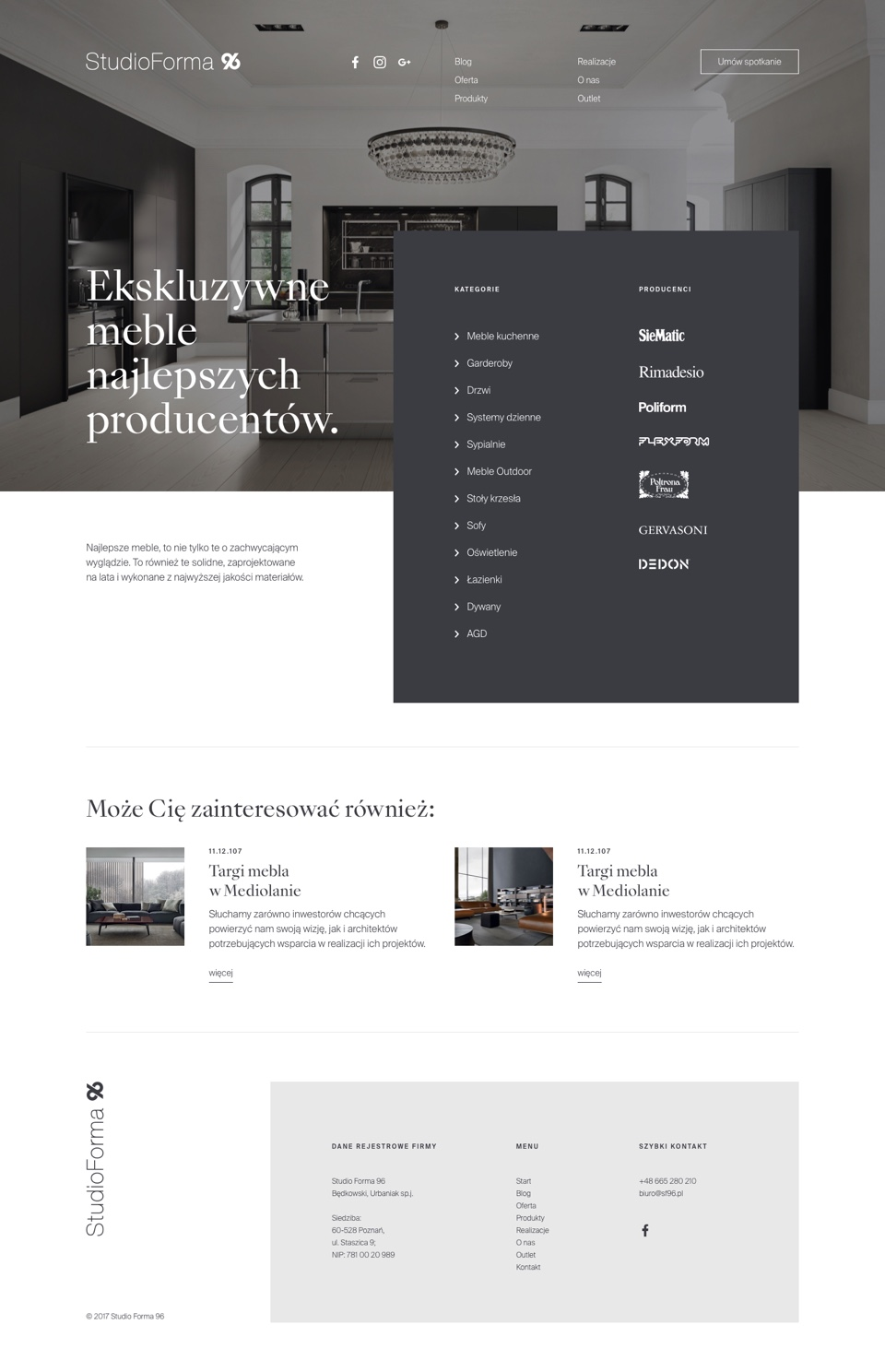 Products page - ui design - StudioForma 96 by Uniforma