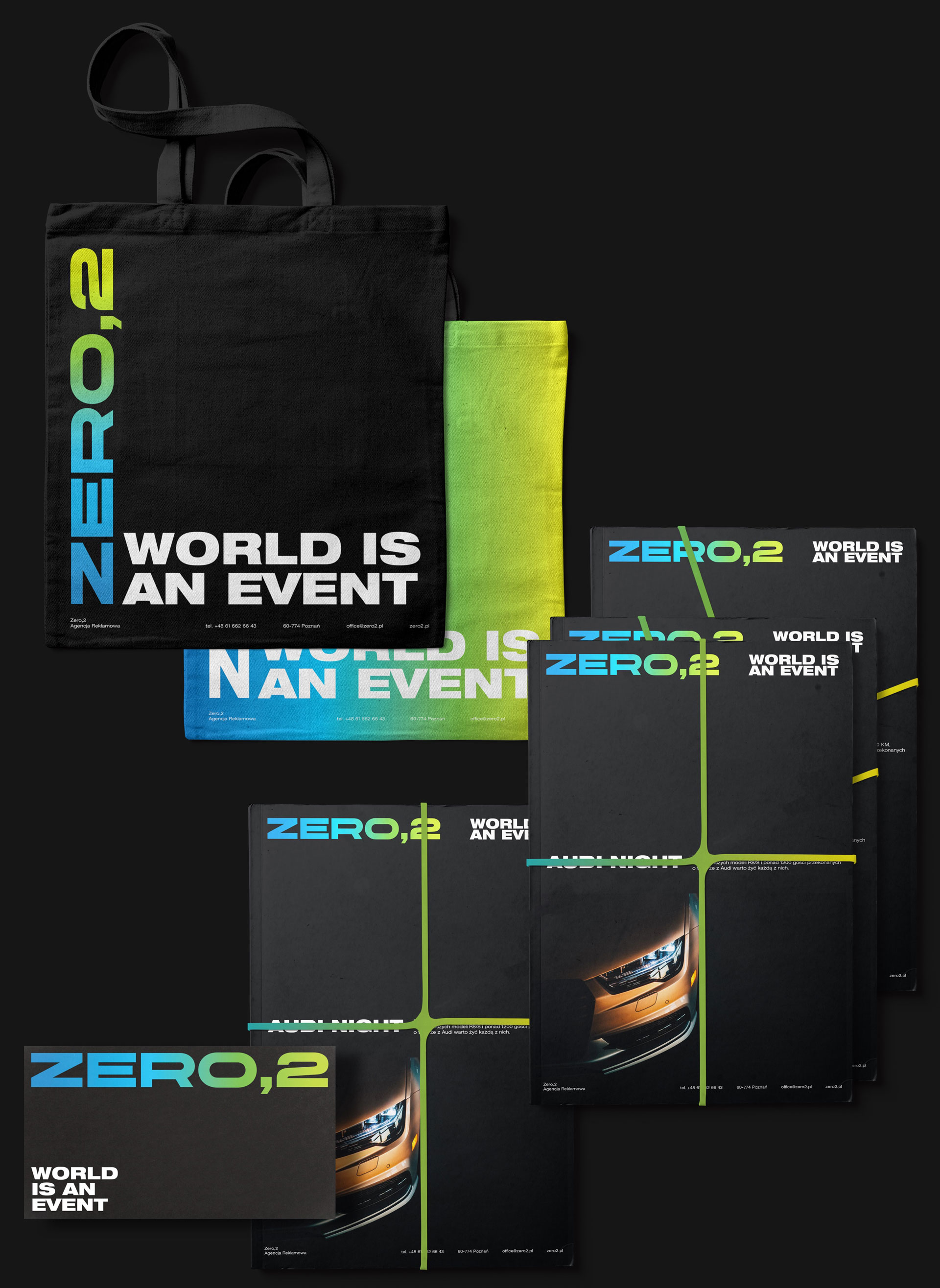Tote bags, catalog and business card - Zero2 by Uniforma