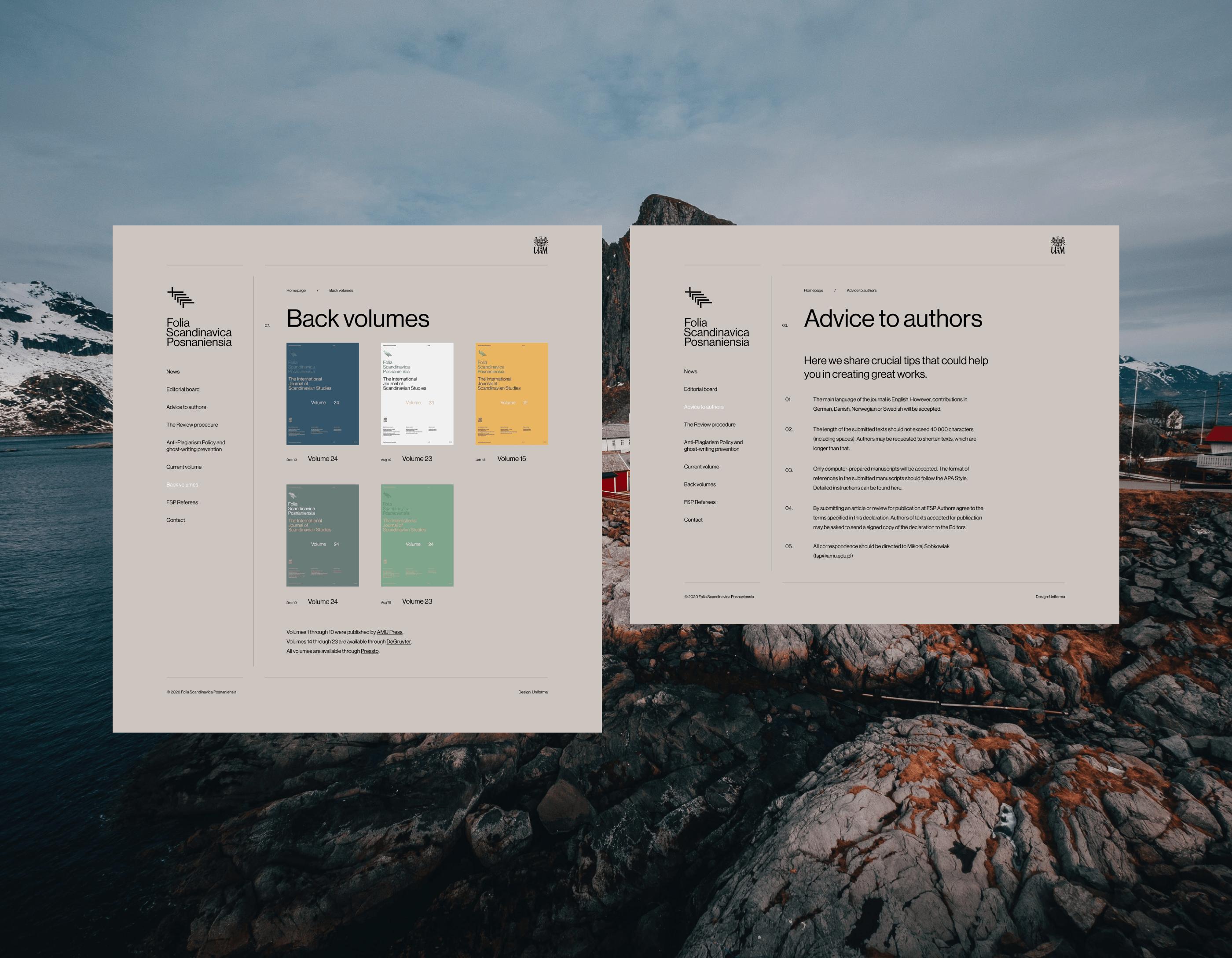 Two web layouts - Folia Scandinavica Posnaniensia