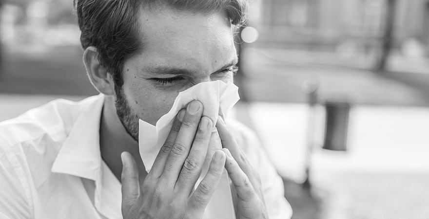 Man suffering from nasal pain and sinus problems