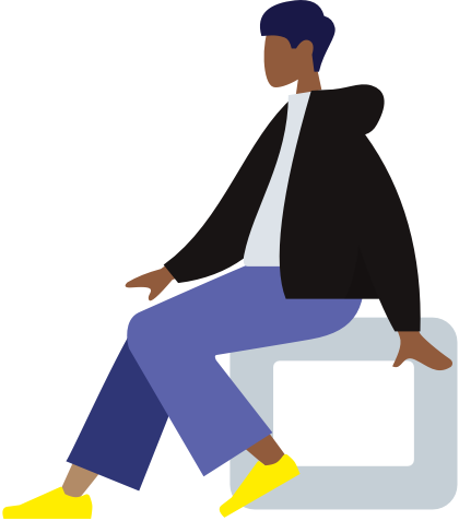 Cartoon man sitting
